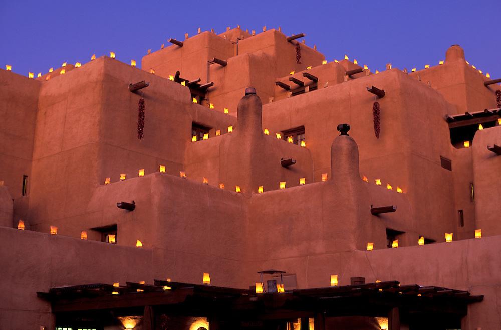 Luminarie lining The Inn at Loretto, Christmas lights, Santa Fe, New Mexico, USA