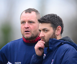 RICKY MARHEINEKE MANAGER AND  CRAIG ADAMS ASSISTANT MANAGER ST IVES TOWN,  St Ives Town v Kettering Town Evostik League Southern Premier Division Central, Saturday 16th February 2019<br /> Score 1-2