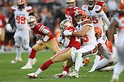 Cleveland Browns middle linebacker Joe Schobert (53) tackles San Francisco 49ers running back Matt Breida (22) during an NFL football game, Monday, Oct. 7, 2019, in Santa Clara, Calif. The 49ers defeated the Browns (Peter Klein/Image of Sport)