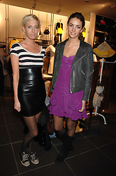 Left to right, the HON.SOPHIA HESKETH and ROSE HANBURY at a party to celebrate the opening of the new H&M store at 234 Regent Street, London on 13th February 2008.<br />