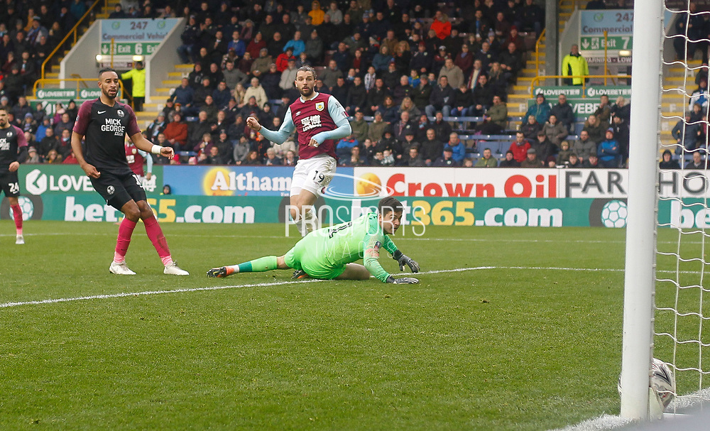 Jay Rodriguez of Burnley shoots to score his second goal during the The FA Cup match between Burnley and Peterborough United at Turf Moor, Burnley, England on 4 January 2020.