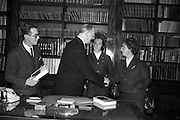 "15/02/1963<br /> 02/15/1963<br /> 15 February 1963<br /> Cardinal Spellman books presented to President de Valera. Two copies of the ""Cardinal Spellman Story"" were presented by two Aer Lingus hostesses to President Eamonn de Valera at Aras an Uachtarain. The books were given to the hostesses by Cardinal Francis Spellman in New York for the president and his chaplain Rev. J.A. Carroll. Picture shows the President receiving the books from Marcella Moran and Irene Liddy."
