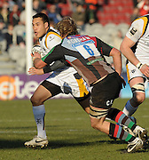 Twickenham, GREAT BRITAIN,  Warriors, Rico GEAR, attempts to run around Quins, Chris ROBSHAW, during the Guinness Premiership match, Harlequins vs Worcester Warriors, played at the Twickenham Stoop on Sat. 16th Feb 2008.  [Mandatory Credit, Peter Spurrier/Intersport-images]