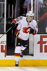 Jan 17, 2012; San Jose, CA, USA; Calgary Flames center Lance Bouma (57) enters the ice before the game against the San Jose Sharks at HP Pavilion. San Jose defeated Calgary 2-1 in shootouts. Mandatory Credit: Jason O. Watson-US PRESSWIRE