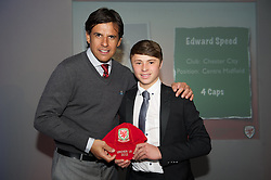 CARDIFF, WALES - Saturday, May 11, 2013: Edward Speed is presented with his U16's cap by Wales national team manager Chris Coleman at the FAW Trust Under-16's cap presentation. (Pic by David Rawcliffe/Propaganda)
