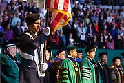 Ohio University Army and Air Force ROTC Cadet Color Guard present the colors at the start of the Commencement ceremony Friday May 2, 2014.  Photo by Ohio University / Jonathan Adams
