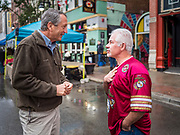 19 OCTOBER 2019 - DES MOINES, IOWA: MARK SANFORD (R-SC), left, talks to a visitor at the Des Moines Farmers' Market during a campaign visit to the market Saturday. Sanford, a former Republican governor and Congressman from South Carolina, is challenging incumbent President Donald Trump for the Republican nomination for the US presidency. Iowa hosts the first event of the presidential selection cycle. The Iowa Caucuses are scheduled for February 3, 2020.               PHOTO BY JACK KURTZ