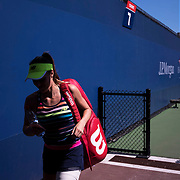 August 30, 2017 - New York, NY : Nicole Gibbs leaves court 7 after defeating Veronica Cepede Royg (not visible) on the third day of the U.S. Open, at the USTA Billie Jean King National Tennis Center in Queens, New York, on Wednesday. <br /> CREDIT : Karsten Moran for The New York Times