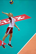 Jakub Jarosz from Poland spikes during the 2013 CEV VELUX Volleyball European Championship match between Poland and Turkey at Ergo Arena in Gdansk on September 20, 2013.<br /> <br /> Poland, Gdansk, September 20, 2013<br /> <br /> Picture also available in RAW (NEF) or TIFF format on special request.<br /> <br /> For editorial use only. Any commercial or promotional use requires permission.<br /> <br /> Mandatory credit:<br /> Photo by &copy; Adam Nurkiewicz / Mediasport