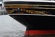 Prins Maurits, beschermheer van Sail Amsterdam, geniet met volle teugen van het maritiem spektakel. Hij voer woensdagmiddag rond 14.15 uur eigenhandig het vlaggenschip, De Clipper Stad Amsterdam van de Sail-In Parade het IJ op. <br /> <br /> Prince Maurice, patron of Sail Amsterdam, thoroughly enjoying the maritime spectacle. He sailed around 14:15 pm Wednesday handedly flagship, The Clipper Stad Amsterdam's Sail-In Parade on the IJ.<br /> <br /> Op de foto / On the photo: De Clipper Stad Amsterdam