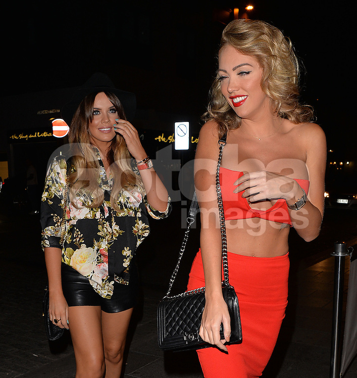Nicola McLean, Maria Fowler and Aisleyne Horgan-Wallace celebrate Nicola's bithday at the Sugar Hut nightclub in Brentwood, Essex, UK. 19/09/2014<br />