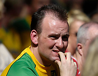Photo: Jed Wee/Sportsbeat Images.<br /> Hull City v Norwich City. Coca Cola Championship. 25/08/2007.<br /> <br /> A Norwich fan nervously watches his team defending.