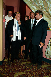 Worldwide famous director, italian legend Franco Zeffirelli dies in Rome at 96. Born in Florence, multi-Oscar awarded and celebrated director also in the world of opera, he realize also a movie dedicate to Maria Callas. File images also with Giorgio Armani from the première night in Milano in 2002. 15 Jun 2019 Pictured: Franco Zeffirelli and his staff. Photo credit: Bruno Marzi / MEGA TheMegaAgency.com +1 888 505 6342