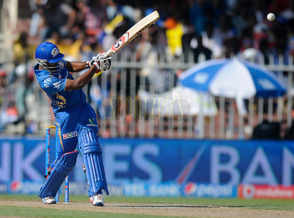 CM Gautam of the Mumbai Indians bats during match 16 of the Pepsi Indian Premier League 2014 between the Delhi Daredevils and the Mumbai Indians held at the Sharjah Cricket Stadium, Sharjah, United Arab Emirates on the 27th April 2014<br /> <br /> Photo by Pal Pillai / IPL / SPORTZPICS