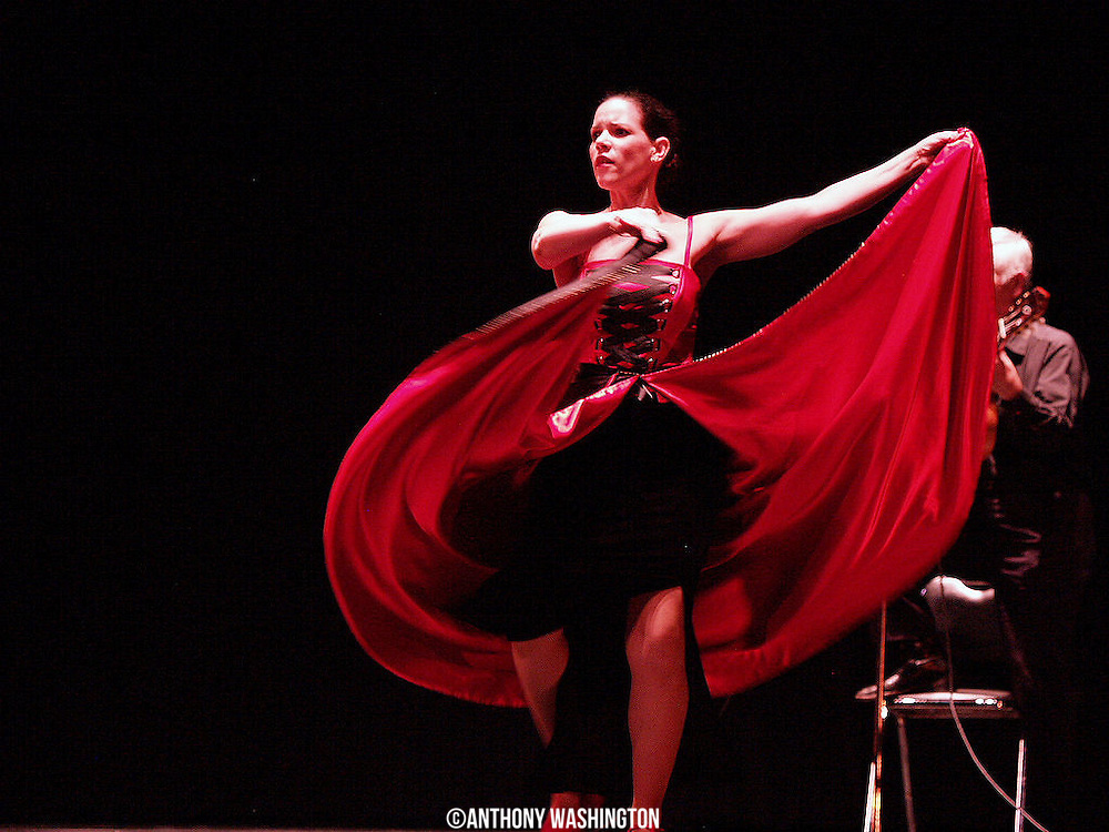 A member of the Furia Flamenca dance company performs at the Lyric Opera House on Sunday, July 20, 2008 in Baltimore, MD.