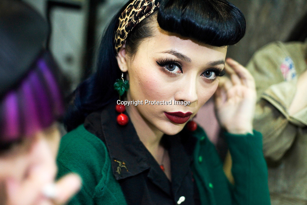 BEIJING, SEPT.30 : a young woman  at School bar, a new trendy music venu in Beijing.