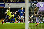 Conor Chaplin opens the scoring for Portsmouth during the Capital One Cup match between Portsmouth and Reading at Fratton Park, Portsmouth, England on 25 August 2015. Photo by Adam Rivers.