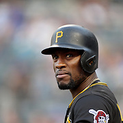 NEW YORK, NEW YORK - June 15: Starling Marte #6 of the Pittsburgh Pirates preparing to bat during the Pittsburgh Pirates Vs New York Mets regular season MLB game at Citi Field on June 15, 2016 in New York City. (Photo by Tim Clayton/Corbis via Getty Images)