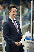 KELOWNA, CANADA - SEPTEMBER 5: Head coach Brad Ralph of Kelowna Rockets stands on the bench against the Prince George Cougars on September 5, 2015 during the first pre-season game at Prospera Place in Kelowna, British Columbia, Canada.  (Photo by Marissa Baecker/Shoot the Breeze)  *** Local Caption *** Brad Ralph;