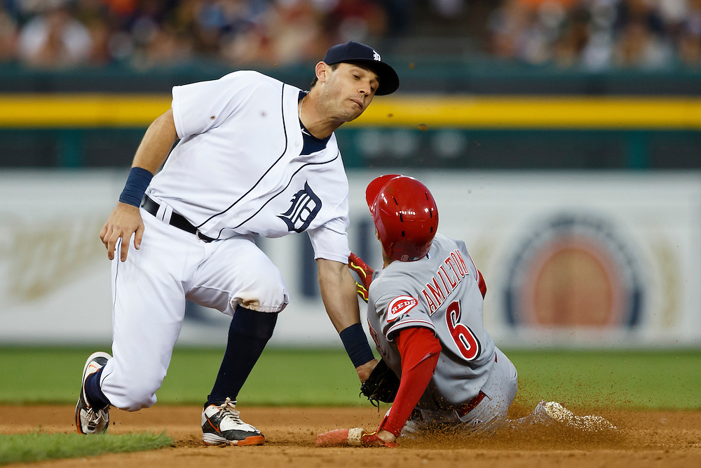 Jun 16, 2015; Detroit, MI, USA; Cincinnati Reds center fielder Billy Hamilton (6) is tagged out by Detroit Tigers second baseman Ian Kinsler (3) trying to steal second base in the seventh inning at Comerica Park. Mandatory Credit: Rick Osentoski-USA TODAY Sports