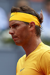 May 9, 2018 - Madrid, Madrid, Spain - Rafael Nadal of Spain looks on during his match against Gael Monfils of France during day five of the Mutua Madrid Open tennis tournament at the Caja Magica on May 9, 2018 in Madrid, Spain  (Credit Image: © David Aliaga/NurPhoto via ZUMA Press)