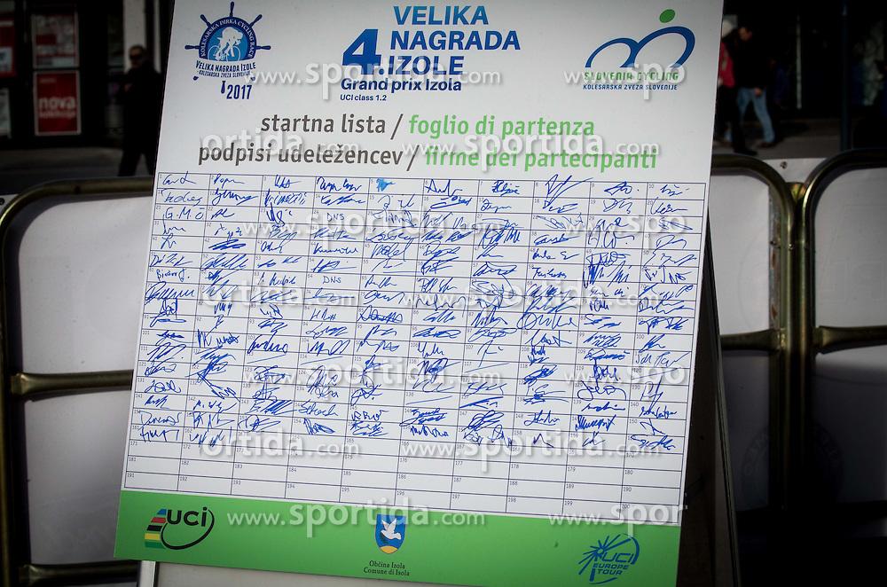 Start list during the UCI Class 1.2 professional race 4th Grand Prix Izola, on February 26, 2017 in Izola / Isola, Slovenia. Photo by Vid Ponikvar / Sportida