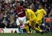 Photo: Rich Eaton.<br /> <br /> Aston Villa v Liverpool. The Barclays Premiership. 18/03/2007.John Carew left of Villa finds his shot blocked by Daniel Agger centre and Javier Mascherano of Liverpool