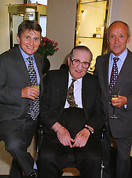 Left to right, former jockey WILLIE CARSON, racehorse trainer MAJOR DICK HERN and jockey JO MERCER, at a reception in London on 13th July 1999.MUE 14
