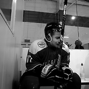 Two Minute Penalty… Stefan Georgiev, Bulgaria...Expressions in the penalty box of players serving a two minute penalty during the 2012 IIHF Ice Hockey World Championships Division 3 contested by New Zealand, Iceland, Bulgaria, Turkey and China at Dunedin Ice Stadium. Dunedin, Otago, New Zealand. January 2012. Photo Tim Clayton