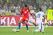 England Midfielder Dele Alli controls the ball from Slovakia Defender Martin Skrtel during the Euro 2016 Group B match between Slovakia and England at Stade Geoffroy Guichard, Saint-Etienne, France on 20 June 2016. Photo by Phil Duncan.