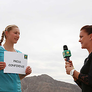 Ekaterina Makarova and Agnieszka Radwańska take part in the WTA All-Access Hour at the Indian Wells Tennis Garden in Indian Wells, California Tuesday, March 11, 2015.<br /> (Photo by Billie Weiss/BNP Paribas Open)