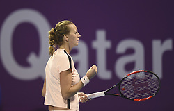 DOHA, Feb. 19, 2018  Petra Kvitova of Czech Republic celebrates during the single's final match against Garbine Muguruza of Spain at the 2018 WTA Qatar Open in Doha, Qatar, on Feb. 18, 2018. Petra Kvitova won 2-1 to claim the title. (Credit Image: © Nikku/Xinhua via ZUMA Wire)