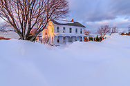 House, snow, Oregon Rd, Cutchogue. NY