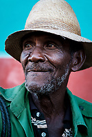 TRINIDAD, CUBA - CIRCA JANUARY 2020: Portrait of old Cuban man in the streets of Trinidad.