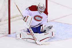 Feb 2; Newark, NJ, USA; Montreal Canadiens goalie Carey Price (31) makes a save during the first period of their game against the New Jersey Devils at the Prudential Center.