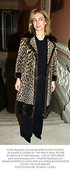 Coffe Republic co-founder MISS SAHAR HASHEMI, at a party in London on 15th March 2004.PSJ 265