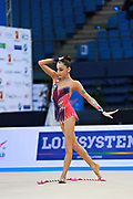 "Adilkhanova Alina from Kazakhstan during clubs routine at  the International Tournament ""Città di Pesaro"",02 April,2016.This tournament dedicated to the youngest athletes is at the same time of the World Cup."