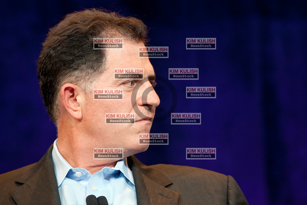 Dell CEO Michael Dell, participates in a CEO roundtable discussion at the annual VMworld conference in San Francisco, California.