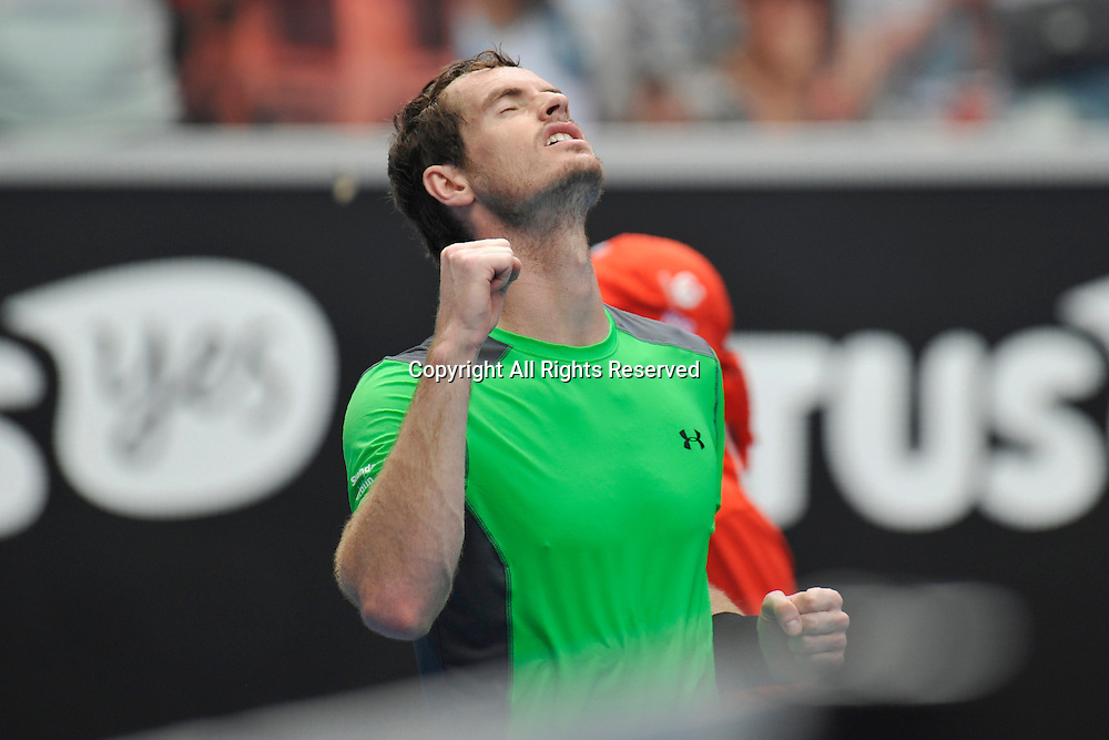 21.01.2015 Australian Open Tennis from Melbourne Park. Andy Murray of Great Britain celebrates after winning his match against Marinko Matosevic of Australia on day three of the 2015 Australian Open at Melbourne Park, Melbourne, Australia.