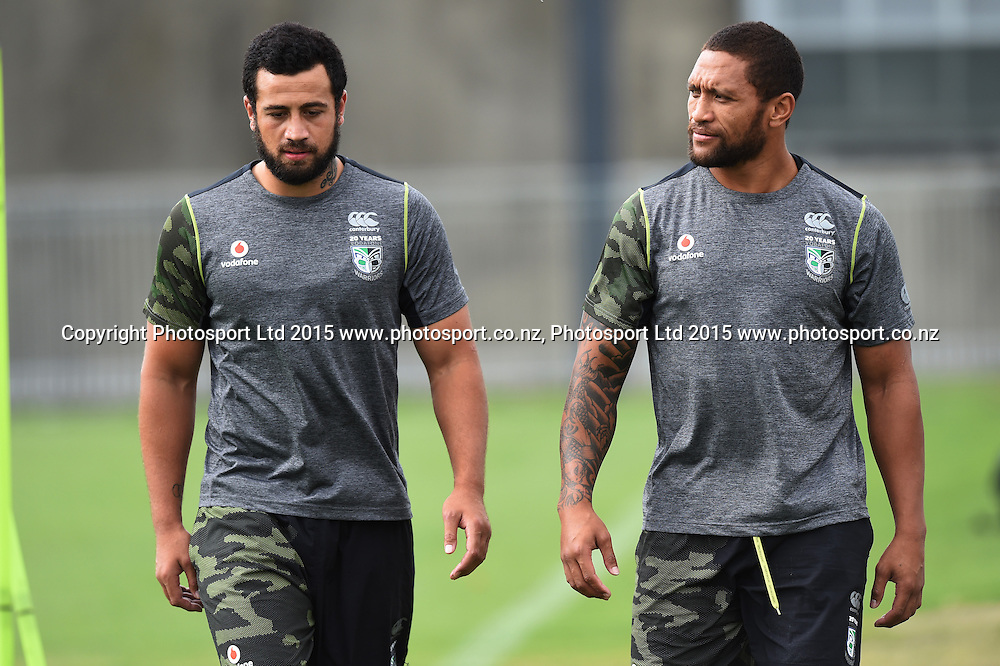 Ben Matulino (L) and Manu Vatuvei during a Vodafone Warriors NRL rugby league training session. Mt Smart Stadium, Auckland. 22 January 2015. Copyright Photo: Andrew Cornaga/www.photosport.co.nz