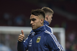 March 22, 2019 - Madrid, Madrid, Spain - Lautaro Martínez of Argentina during the Friendly football match between Argentina and Venezuela at Wanda Metropolitano Stadium in 22 March 2019, Madrid, Spain, preparatory for the Copa América Brazil 2019 to be played from June 14 to July 7. (Credit Image: © Patricio Realpe/NurPhoto via ZUMA Press)