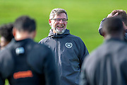 Craig Levein, manager of Heart of Midlothian, in good spirits during training ahead of the visit of Livingston FC, at Oriam Sports Performance Centre, Riccarton, Edinburgh, Scotland on 20 September 2018.