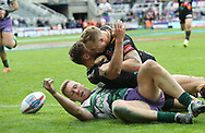 Tommy Makinson of St Helens celebrates scoring the try against Hull FC with his team mates during the Betfred Super League match at the Dacia Magic Weekend at St. James's Park, Newcastle<br /> Picture by Stephen Gaunt/Focus Images Ltd +447904 833202<br /> 20/05/2017