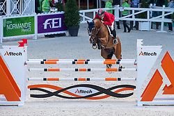 Omer Karaevli, (TUR), Dadjak Ter Puttenen - Team & Individual Competition Jumping Speed - Alltech FEI World Equestrian Games™ 2014 - Normandy, France.<br /> © Hippo Foto Team - Leanjo De Koster<br /> 02-09-14