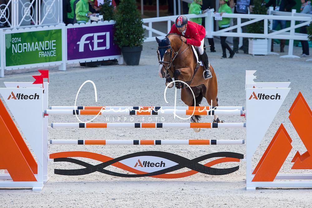 Omer Karaevli, (TUR), Dadjak Ter Puttenen - Team & Individual Competition Jumping Speed - Alltech FEI World Equestrian Games™ 2014 - Normandy, France.<br /> © Hippo Foto Team - Leanjo De Koster<br /> 02-09-14