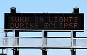 A sign on the highway refers to the upcoming solar eclipse near Guernsey, Wyoming U.S. August 19, 2017.  REUTERS/Rick Wilking