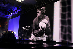 A tribute to Gary Sprake on the big screen during the Professional Footballers' Association Awards 2017 at the Grosvenor House Hotel, London