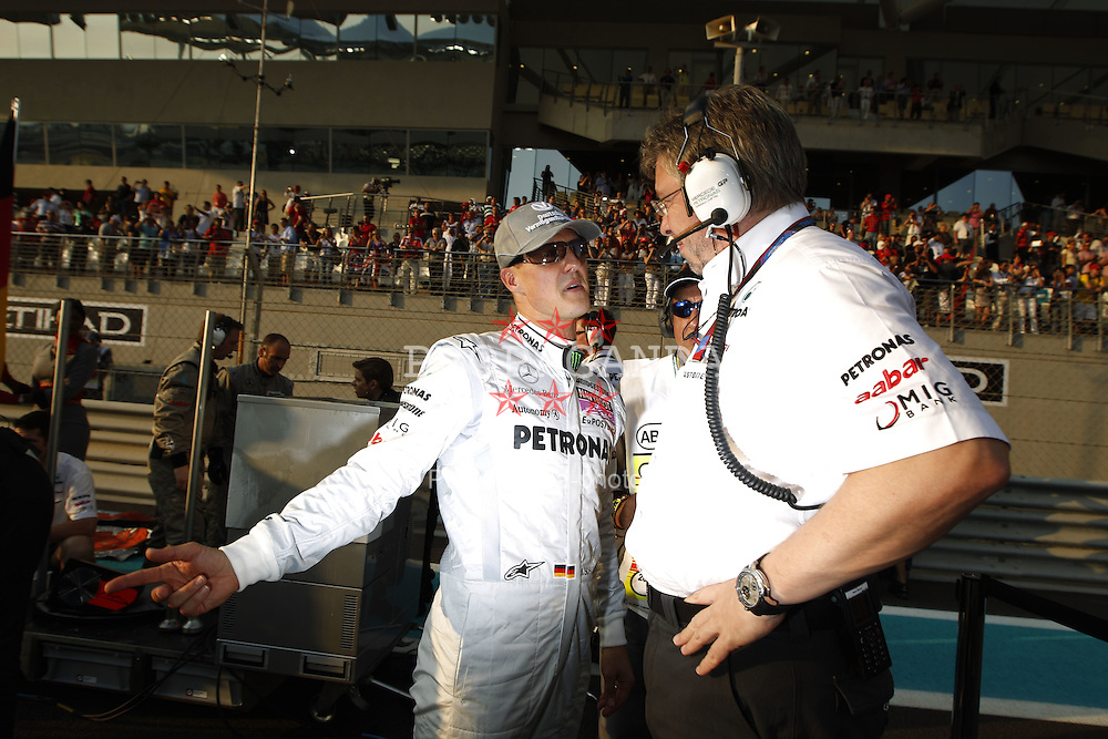 Motorsports / Formula 1: World Championship 2010, GP of Abu Dhabi, 03 Michael Schumacher (GER, Mercedes GP Petronas),   Ross Brawn (ENG, Mercedes GP Petronas),