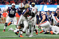 Auburn Tigers running back Kerryon Johnson (21) runs for a touchdown during the 2018 Chick-fil-A Peach Bowl NCAA football game against the UCF Knights on Monday, January 1, 2018 in Atlanta. (Paul Abell / Abell Images for the Chick-fil-A Peach Bowl)