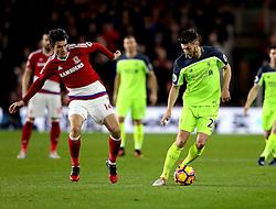 Adam Lallana of Liverpool goes past Marten de Roon of Middlesbrough - Mandatory by-line: Robbie Stephenson/JMP - 14/12/2016 - FOOTBALL - Riverside Stadium - Middlesbrough, England - Middlesbrough v Liverpool - Premier League